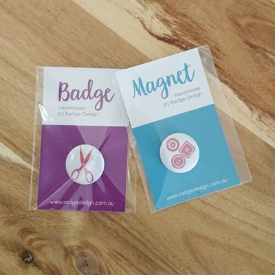 branded for you badges and magnets mix