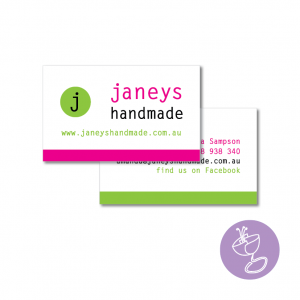 janeys handmade business card design by radge design