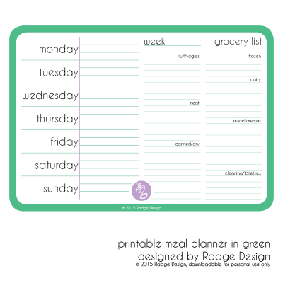 meal planner green by radge design