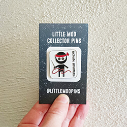 Sewing ninja illustration for enamel pins from Little Moo Designs