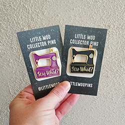 Sewing machine illustration for enamel pins from Little Moo Designs