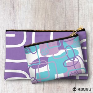 lilac cat pattern on redbubble pouches