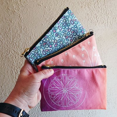 small pouches mandala pantone rocks and homeland flora design