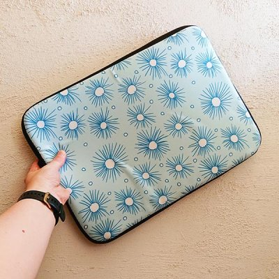 flat pompom mint design laptop sleeve