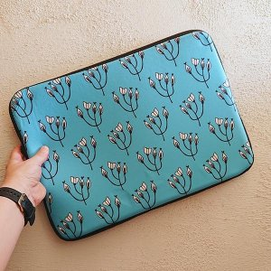 Whimsical Floral Teal Buds laptop sleeve