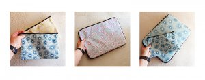 pompoms patterns on pouches and laptop cases