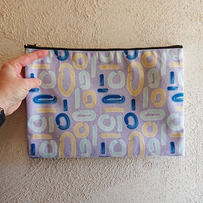 abstract lilac groovy patterned pouch
