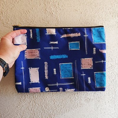 paintbrush blue patterned pouch