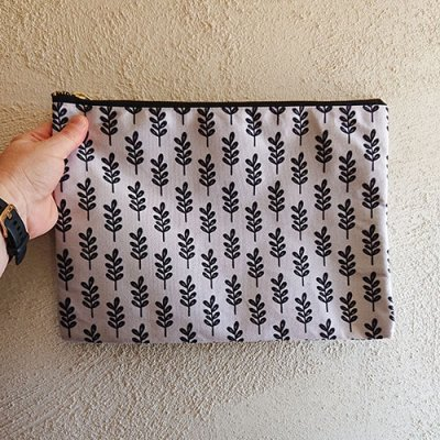 whimsical floral lilac patterned pouch