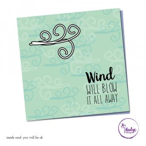 quirky greeting card design wind will blow it all away