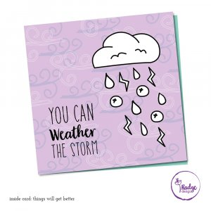 quirky greeting card designweather the storm