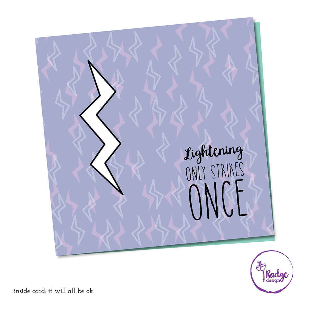 lightening strikes once quirky greeting card