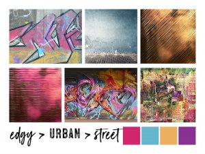 moodboard for an edgy urban street brand