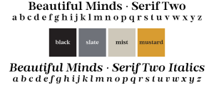 fonts and colours for use in a stylish classic masculine brand