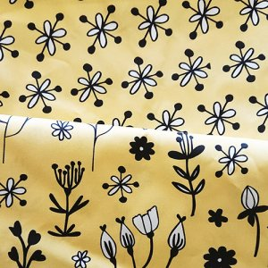 sunny fabric design with floral motif