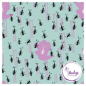 running ants quirky fabric print mint