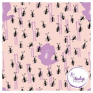 running ants quirky fabric print peach