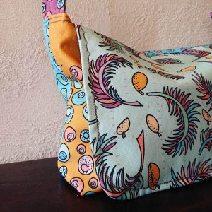 tropical papaya fabric collection sewn as messenger bag