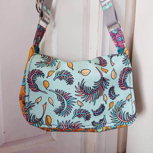 tropical papaya fabric collection sewn as messenger bag