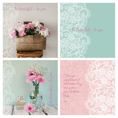 social graphics colours and fonts to suit a warm vintage feminine brand